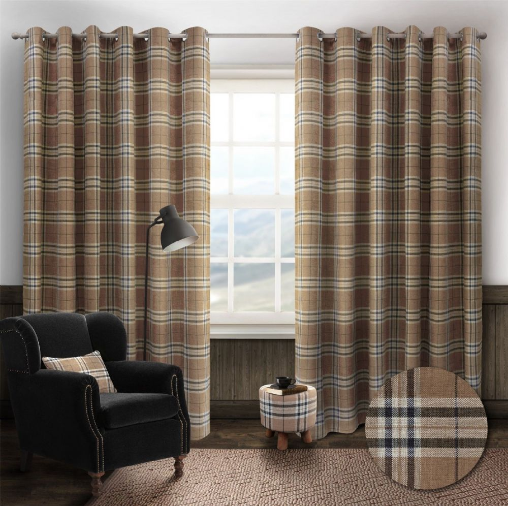STYLISH TRENDY RINGTOP EYELET LINED HIGHLAND MIST TARTAN CHECK CURTAINS BEIGE COLOUR